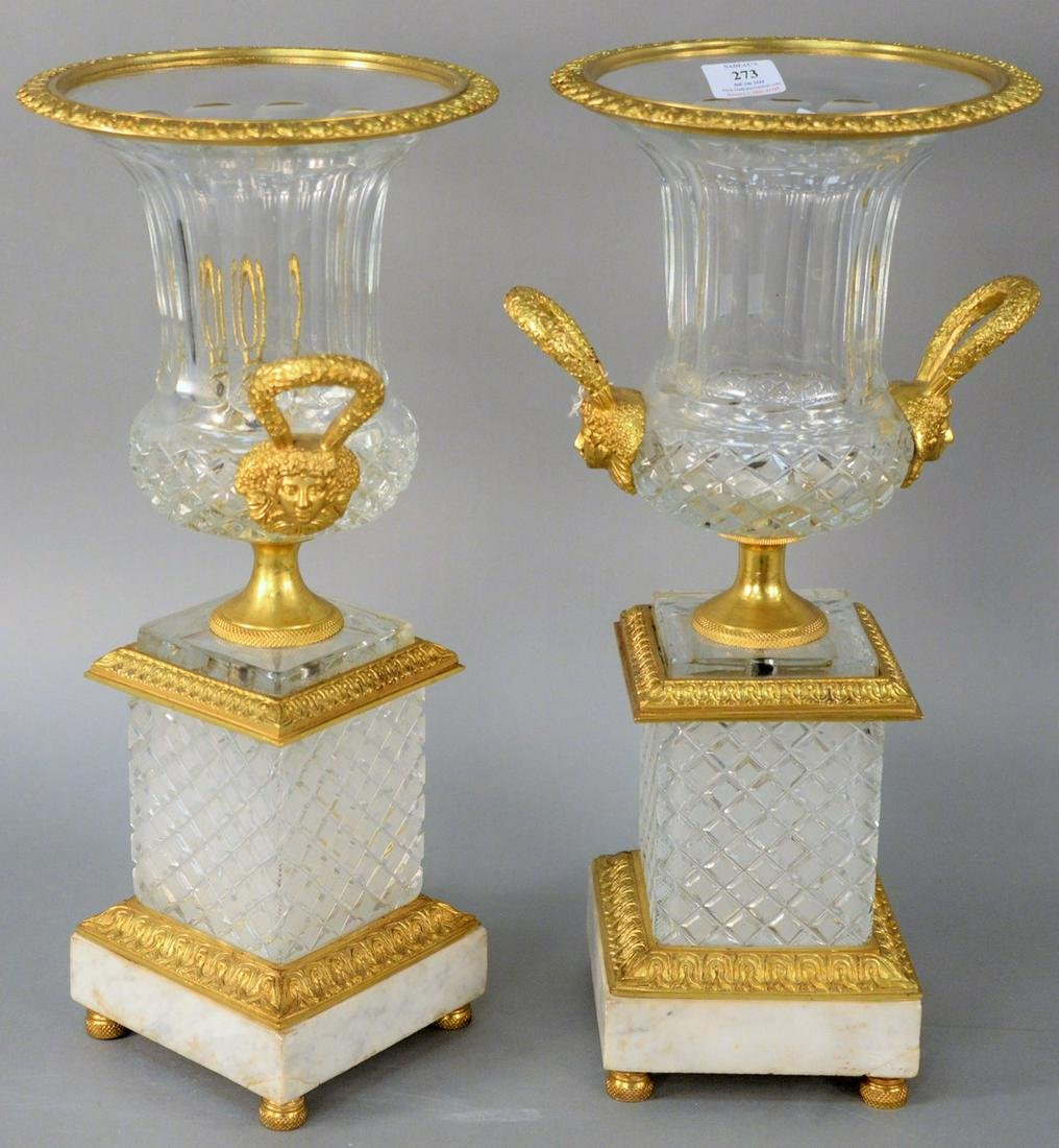 Pair of French Bronze Dore and Crystal Urns, having
