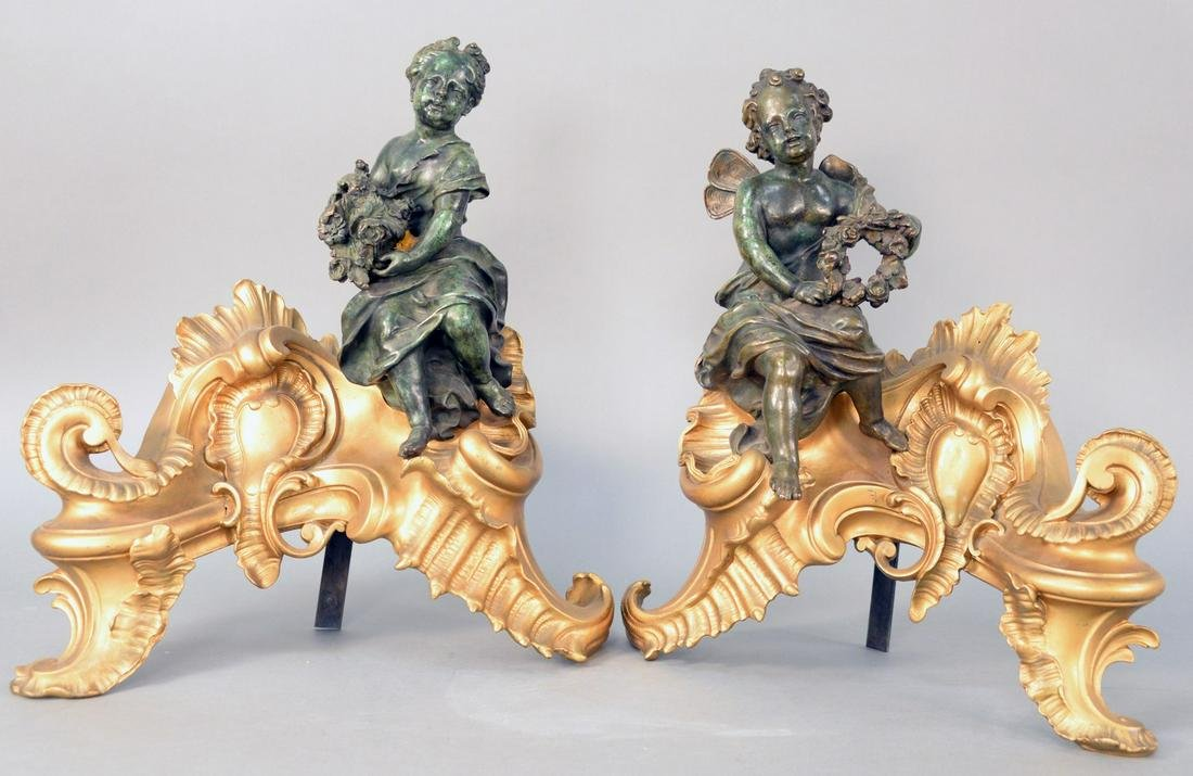 Pair of Louis XV Style Bronze Dore Figural Cabinets,