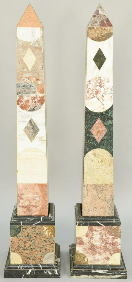 Pair of Monumental Specimen Marble Obelisks, on molded