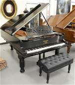 Steinway and Sons Grand Piano, ebonized with disc playe