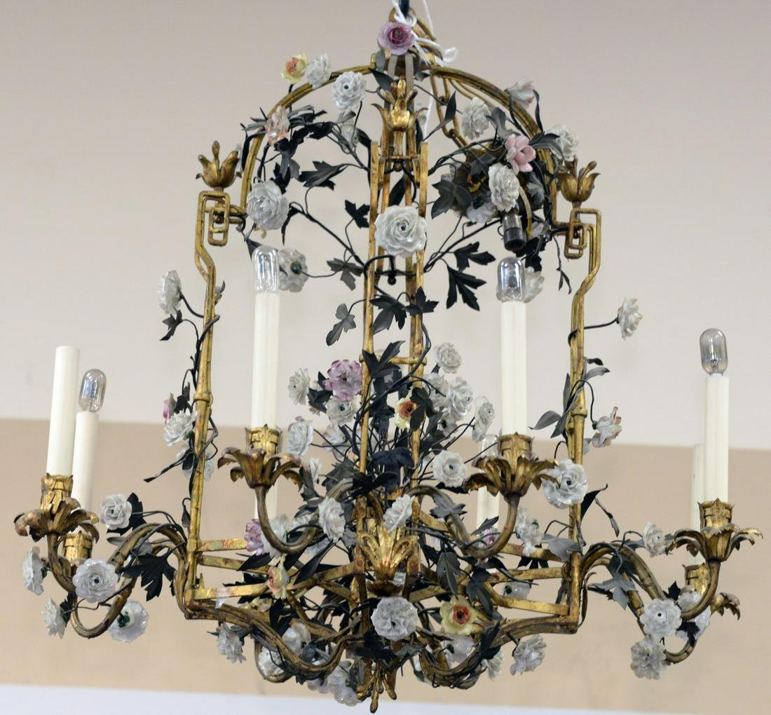 Rare Louis XV Tole and Gilt Metal Chandelier, mounted