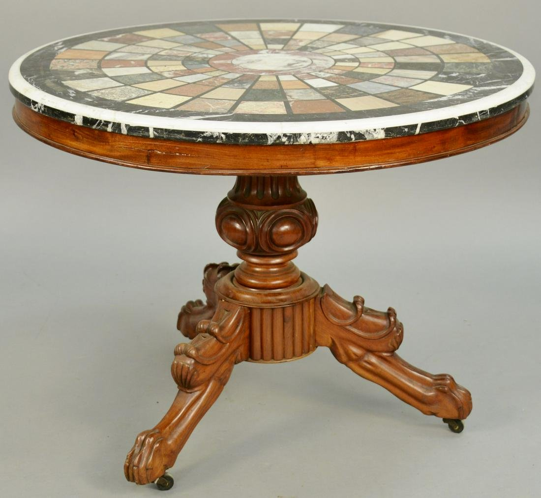 Regency Parcel Gilt Mahogany Marble Top Center Table,