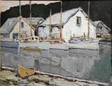 Walter Farndon 1876  1964 New England Harbor oil