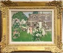 """Gifford Beal (1879 - 1956), """"Two Women in Garden"""", oil"""