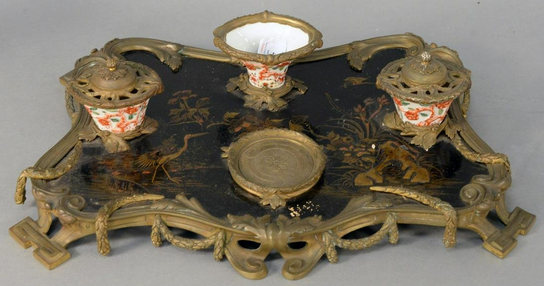 French Chinoiserie Inkwell, having bronze mounted