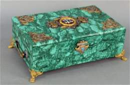 Large Ormolu Mounted Malachite Box, hinged covered with