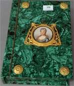 Malachite Ormolu Mounted Book Form Box, center mounted