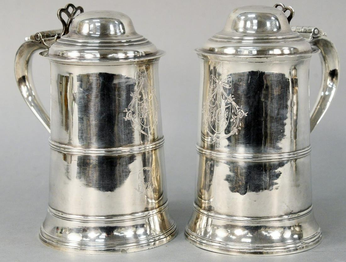 Pair of Georgian Silver Tankards, each with different