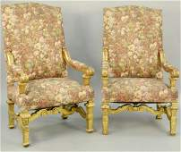 Pair of Large Louis XIV Style Open Armchairs carved