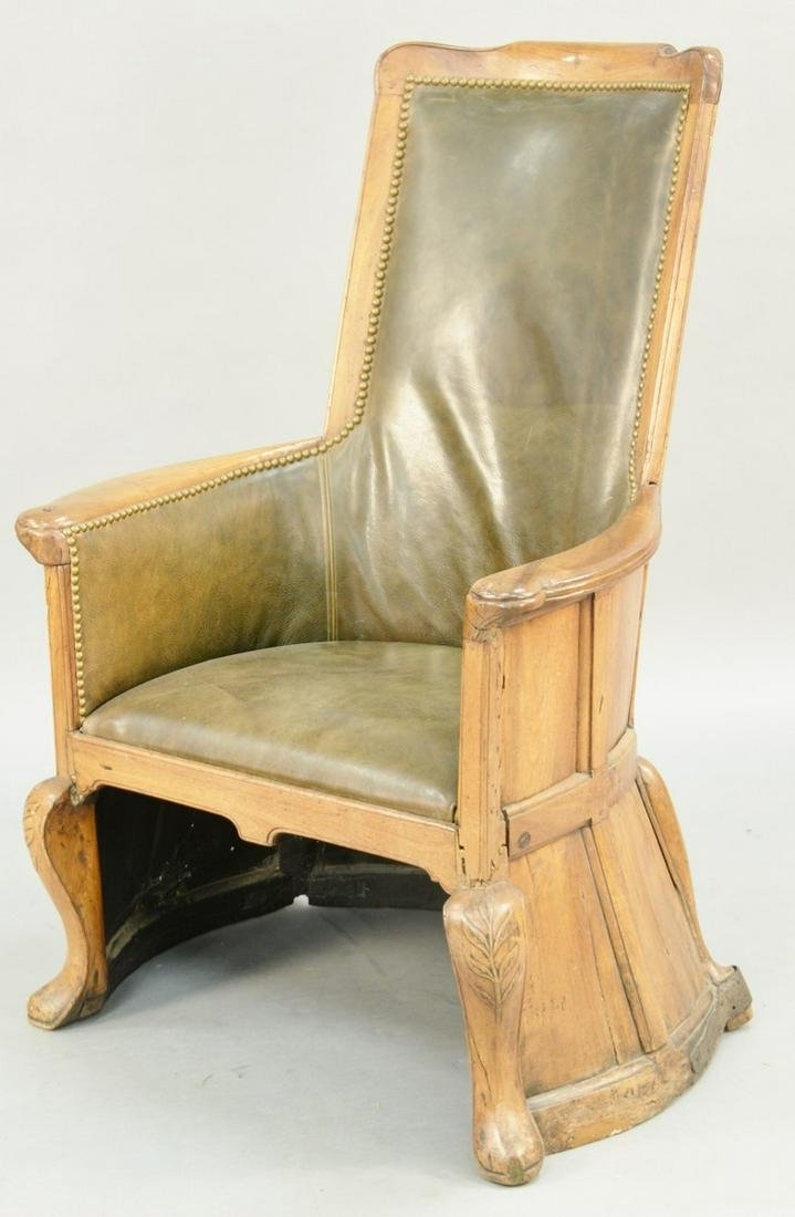 Continental Provincial Walnut Leather Upholstered Club