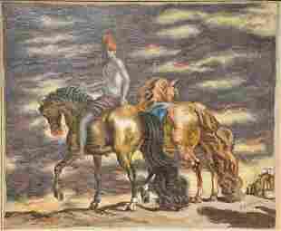 Giorgio De Chirico (1888 - 1978), Cavalli in Riva al