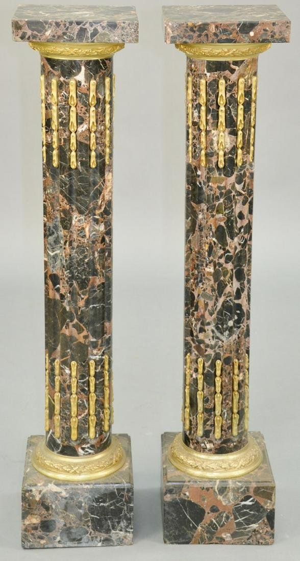 Pair of Neoclassical Style Variegated Black Marble And