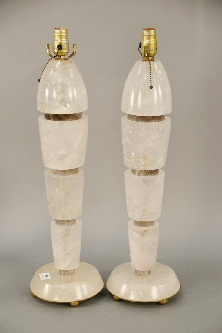 Pair of Rock Crystal Table Lamps, art deco taste in