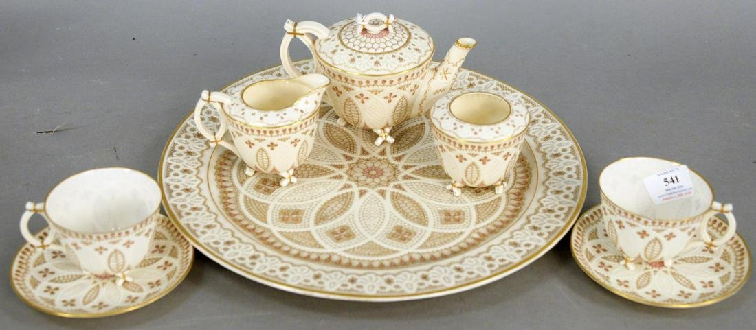 Eight Piece Belleek Pink Lace Tea Set, consisting of