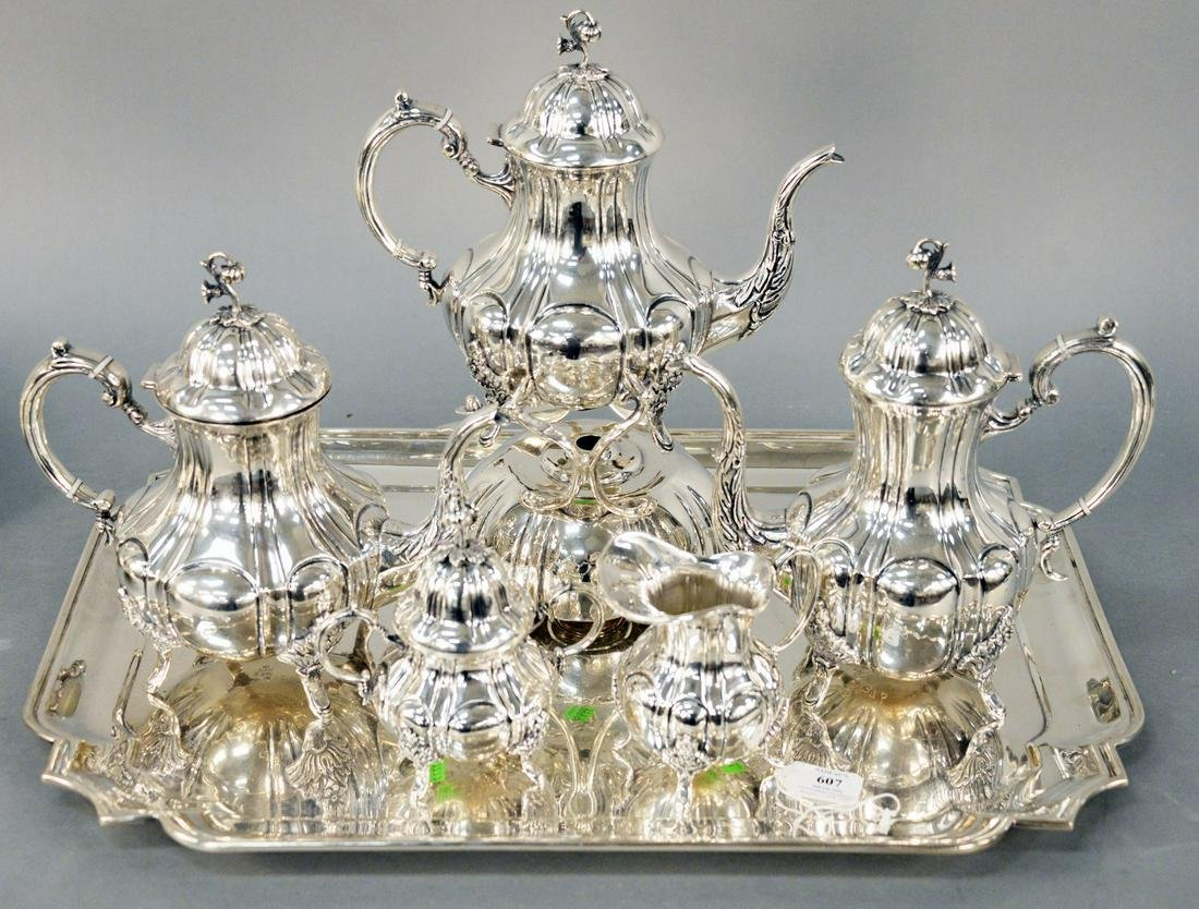 Six Piece Sterling Silver Tea Set, comprising of large