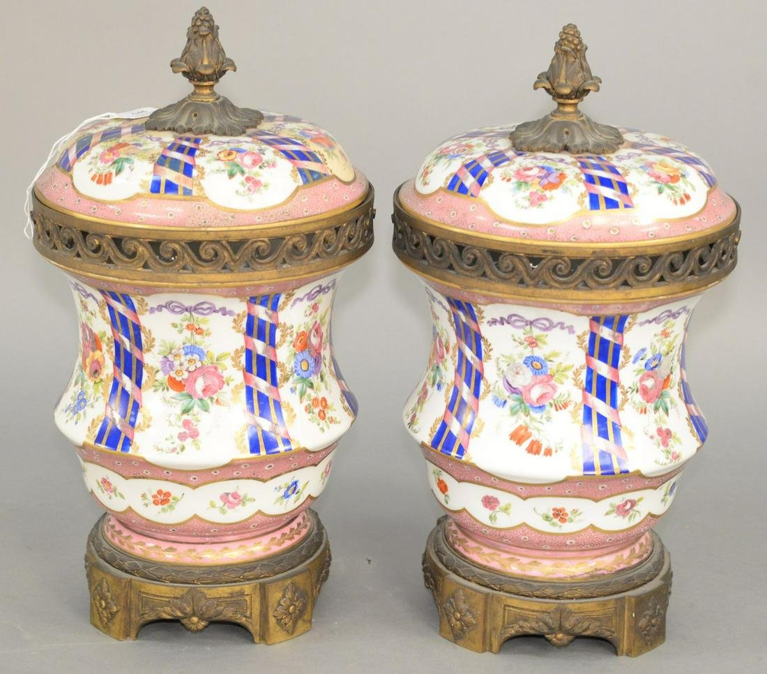 Pair of Large Sevres French Porcelain Covered Potpourri