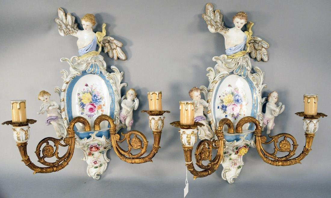 Pair of German Porcelain and Bronze Two Light Sconces,