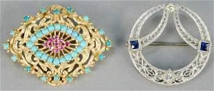 Two gold brooches, 14K white gold circle brooch with