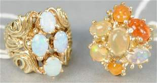 Two gold rings, with stones, one with four opals.