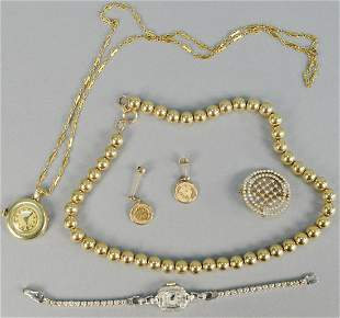 Gold lot, to include gold beads, two watches, one pin,