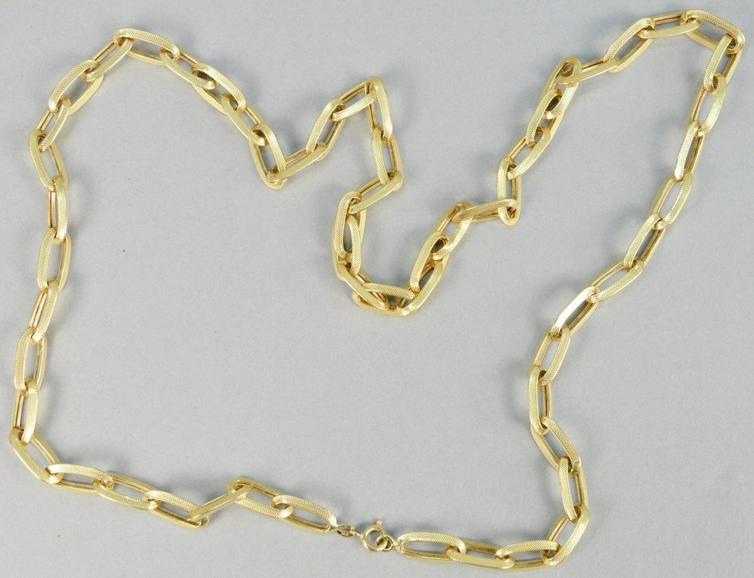18K gold large link necklace, 55 grams.