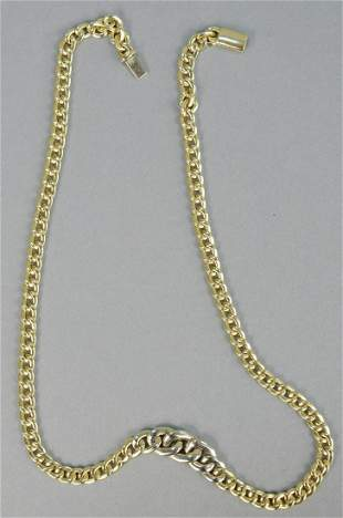 14K gold necklace, with large link. 28.5 grams.