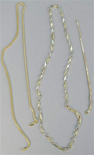 Three piece lot, to include 14K gold necklaces, one