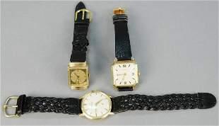 Three wrist watches, Glycine 14K gold wrist watch,