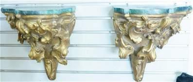 Pair of Italian carved wood hanging bracket shelves