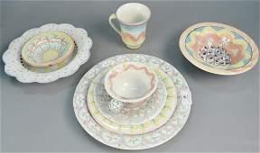 Sixtythree piece Mackenzie childs dinnerware set to