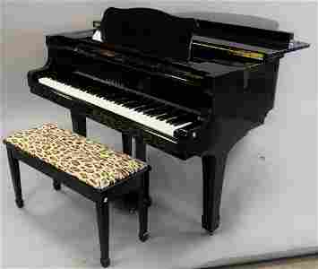Yamaha black lacquer Grand piano with bench, G3.