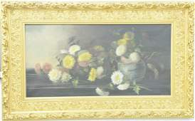 Large oil on canvas still life of flowers, unsigned, in