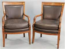 Pair of Continental style armchairs with dolphin arms