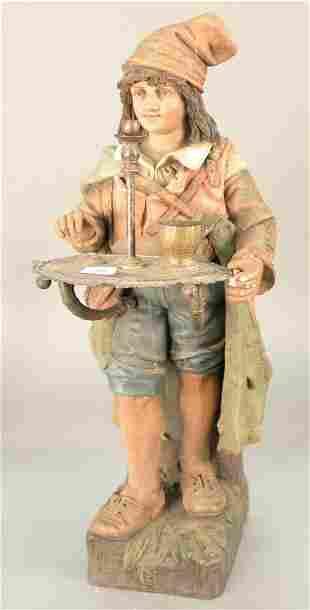 Dutch Polychrome terracotta figure standing boy