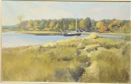 "Frank W. Handlen (b. 1916), oil on canvas, ""Ocean Cove"