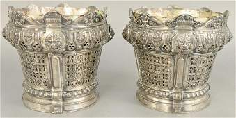 Pair of silver plated planters having lion marks and