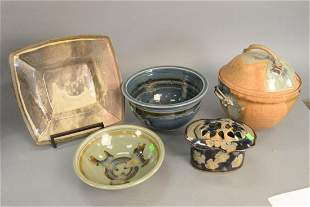 Group of six ceramic glazed pieces to include two