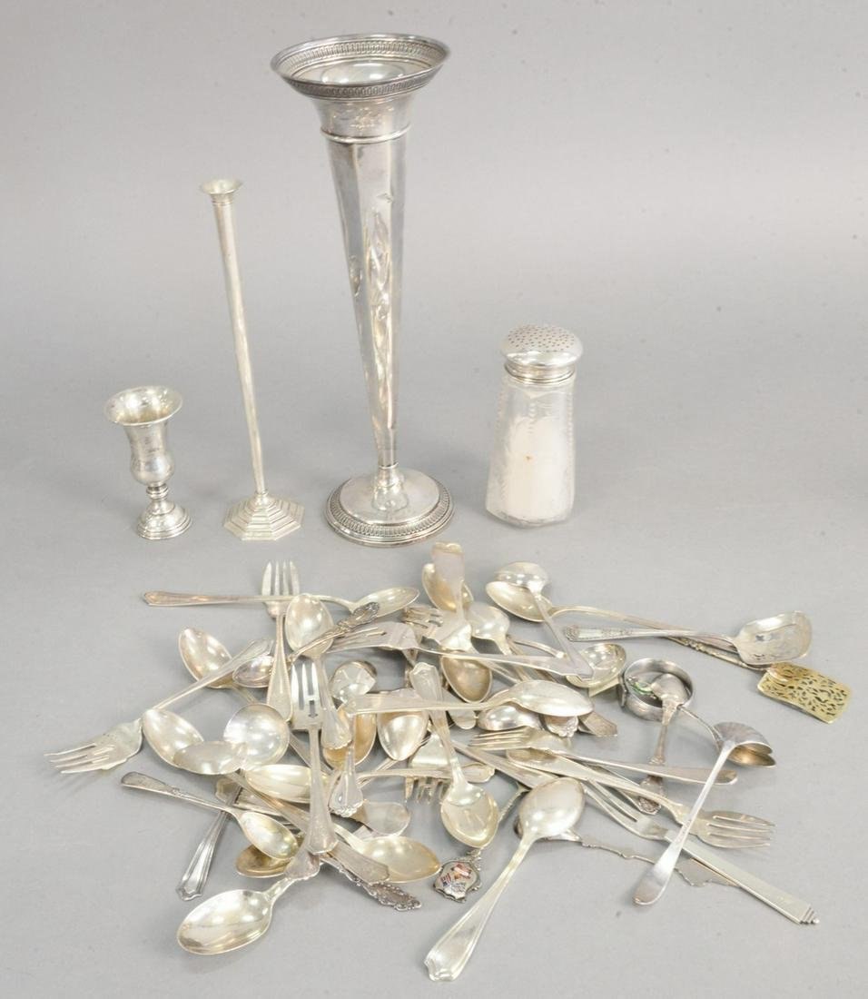 Sterling silver micellaneous items plus two weighted