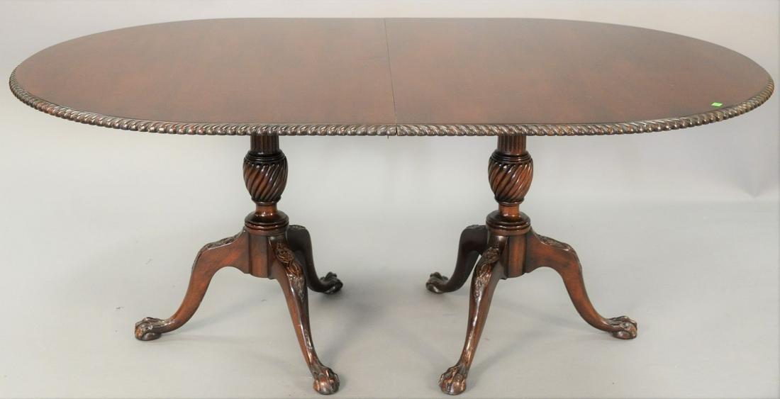 Custom Mahogany Double Pedestal Table, with rope edge