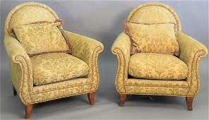 Pair of Swaim upholstered chairs, ht. 37 in., wd. 36in.