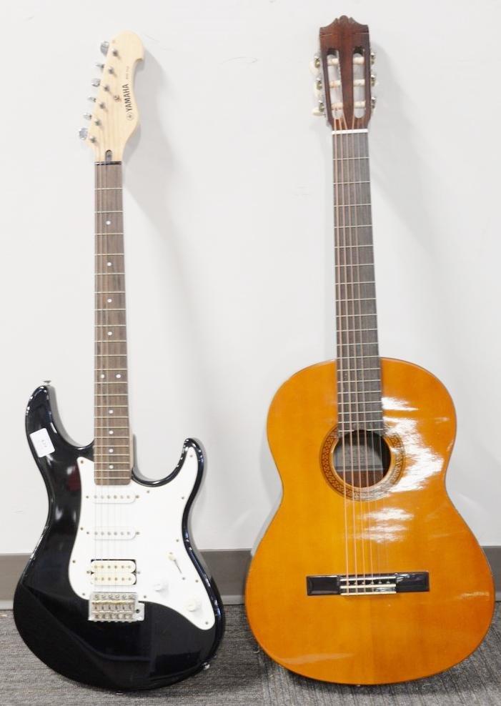 Two Yamaha guitars, Yamaha EG-112 electric guitar,