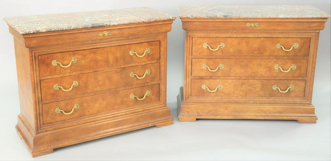 Pair of Henredon marble top commodes, marker Charles X,