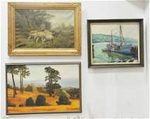 Five oil paintings, to include oil on canvas of Harbour