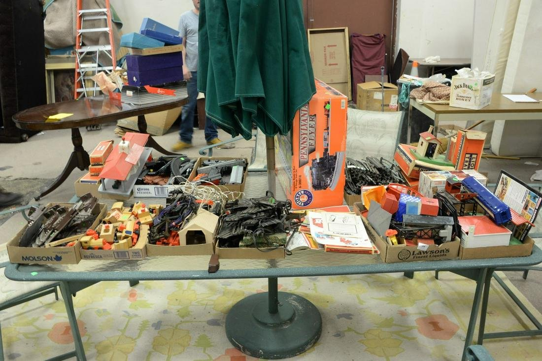Large group of trains and train parts, Lionel trains