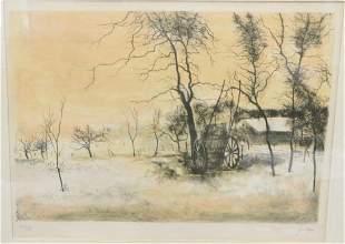 Bernard Ganter colored lithograph of a farm winter