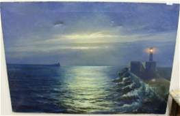 Moonlight Seascape with lighthouse oil on canvas