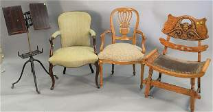 Four piece group to include a pair of slipper chairs
