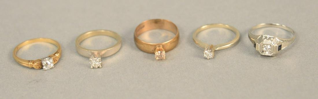 Five diamond rings to include one 18K gold and four 14K