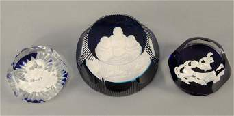Group of three Sulphide cameo paperweights, Baccarat