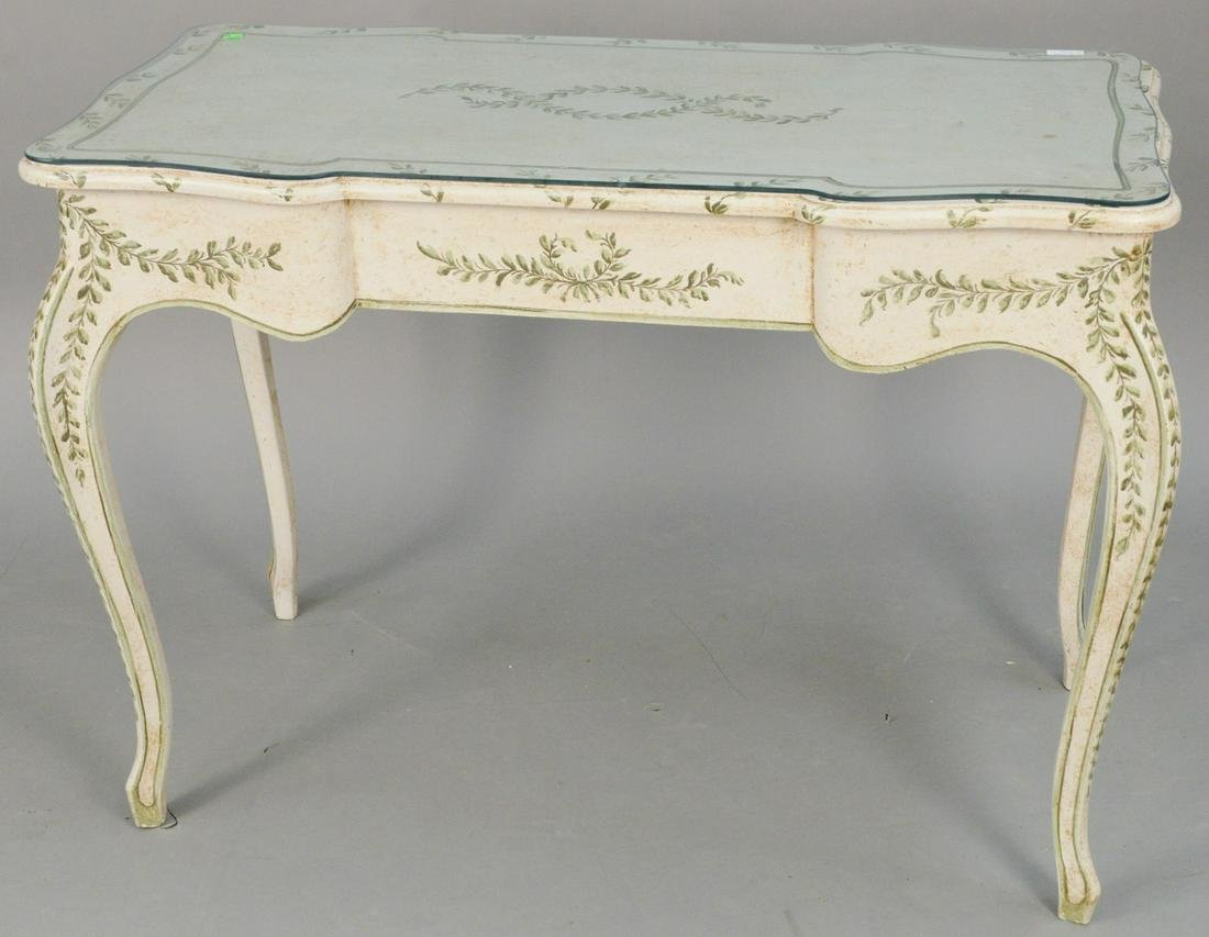 Two piece lot to include paint decorated Louis XV style